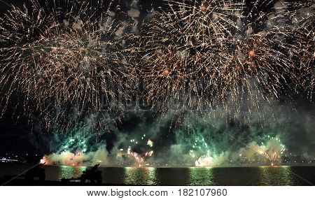 Skyfire 2017 in Canberra Australia. Fireworks during Canberra's annual SkyFire appear above Lake Burley Griffin.