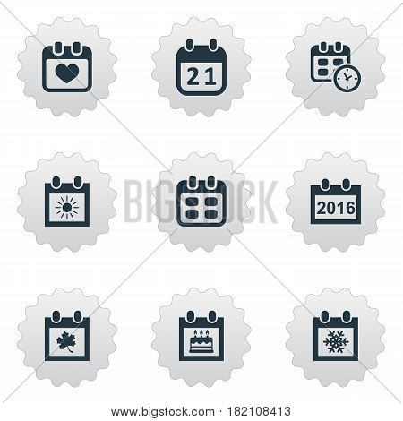 Vector Illustration Set Of Simple Time Icons. Elements Snowflake, Special Day, Leaf And Other Synonyms Event, Sun And Autumn.