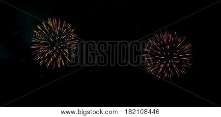 Festive fireworks in night sky. A single shot of the colorful fireworks in honor of the event. Firework multicolour fun and joyful. Different colors amazing various fireworks dark sky background.