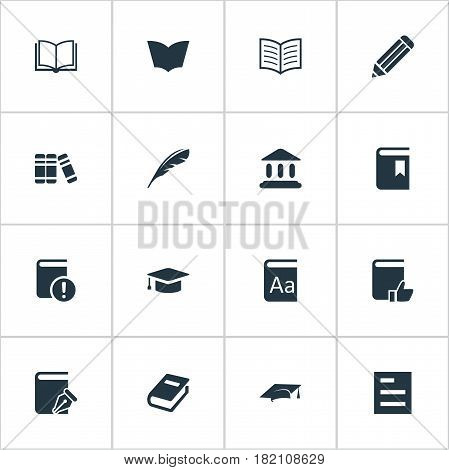 Vector Illustration Set Of Simple Knowledge Icons. Elements Pen, Sketchbook, Blank Notebook And Other Synonyms Pen, Academy And Writing.