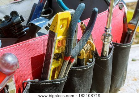 Work tools background. bag with tools tool construction background bag