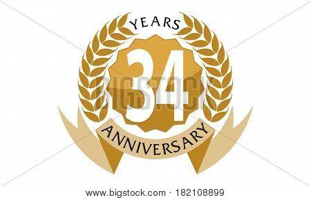 34 Years Ribbon Anniversary Celebration Congratulation Elegance
