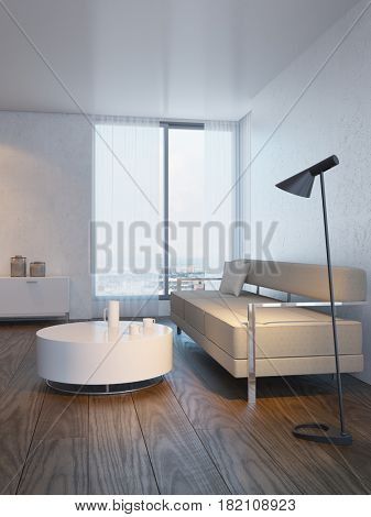 modern design of living room, 3d rendering