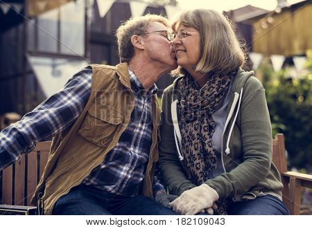 Senior farmer couple kiss romance love