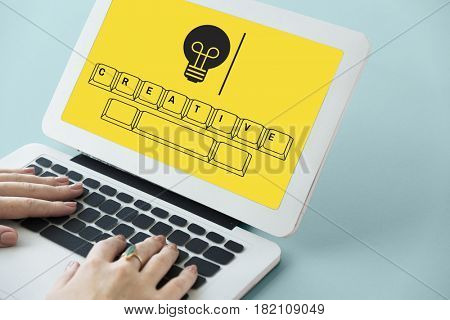 Light bulb with keyboard graphic