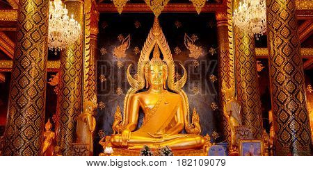 PHITSANULOK THAILAND - NOVEMBER 4 2016: Phra Phuttha Chinnarat Buddha Image at Wat Phra Si Rattana Mahathat Temple one of the three most highly respected Buddha images in Thailand