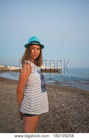 beautiful woman on the beach at Alania, Turkey