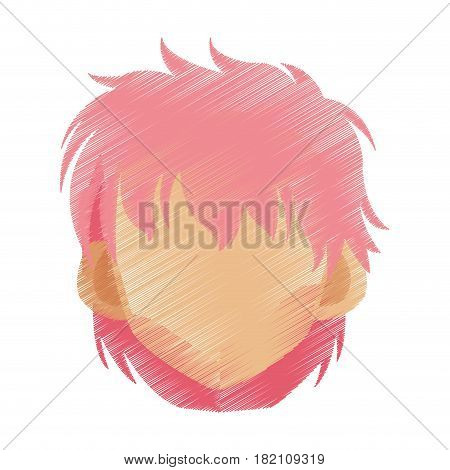 head of woman with short scruffy pink hair cartoon icon image vector illustration design