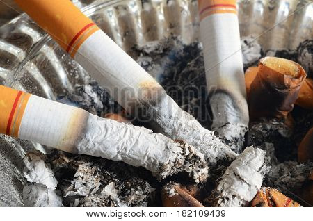 A close up image of lit cigarettes in a dirty ashtray.