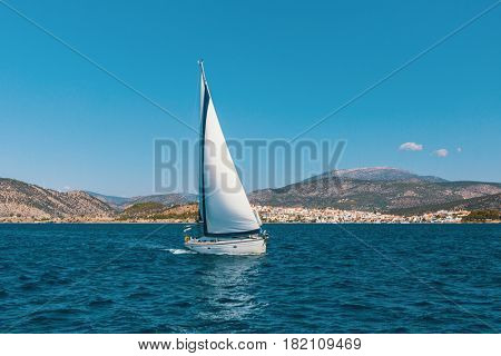 Sail yachts in the Sea. Luxury boats.