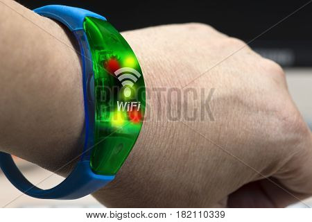 Electronic gadget device on hand like smart watch connected wifi to transfer data and information.