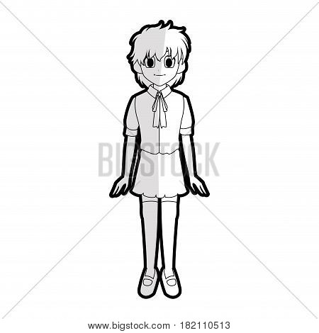 cute young girl with short scruffy hair wearing school uniform  anime or manga icon image vector illustration design