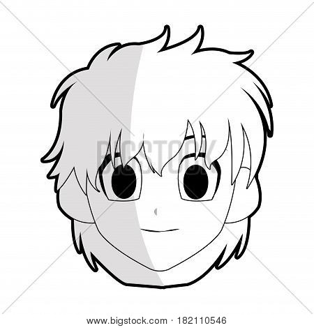 cute young girl with short scruffy hair anime or manga icon image vector illustration design
