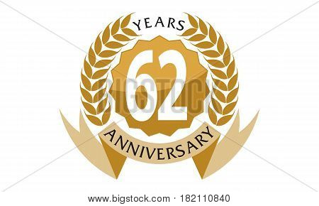 This vector describe about 62 Years Ribbon Anniversary