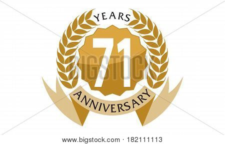 This vector describe about 71 Years Ribbon Anniversary poster