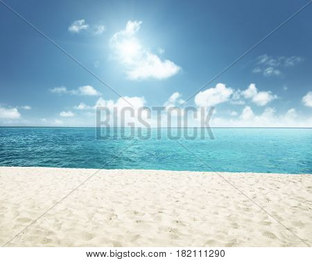 sunny tropical beach and perfect sky