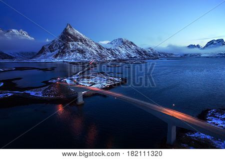 Olstind Mount and bridges, aerial view. Lofoten islands, Norway