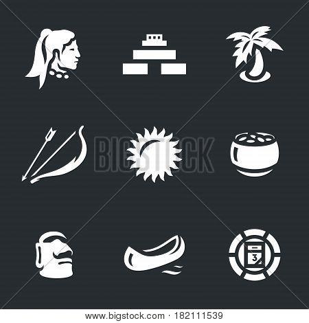 Man, pyramid, palm tree, bow and arrow, sun, gold, idol, canoe, calendar.