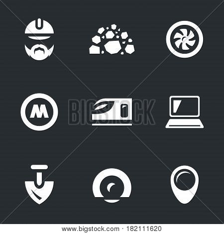 Builder, stones, drill, metro sign, train, computer, shovel, tunnel, pointer.