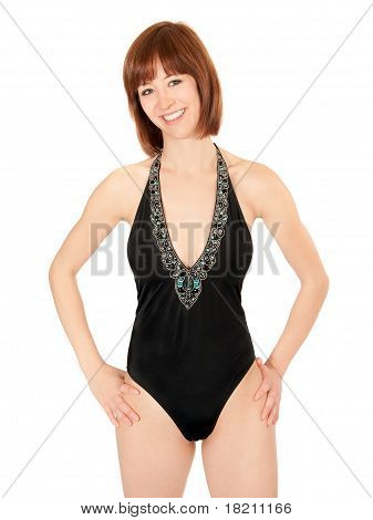 Portrait Of Beautiful Woman In Black Bathing Suit