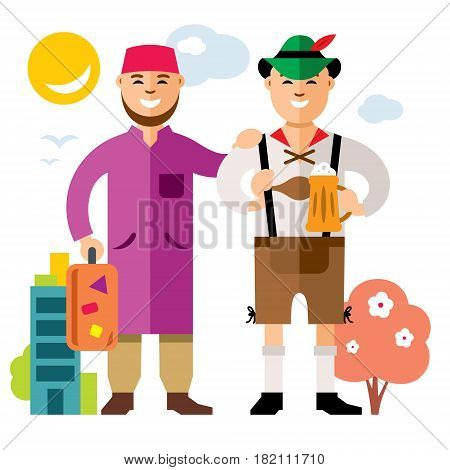 Arab with a suitcase and German with a beer. Isolated on a white background