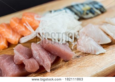 Japanese food fresh raw fish mixed sashimi