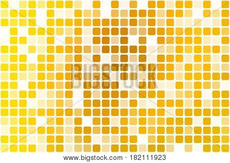 Bright golden yellow occasional opacity vector square tiles mosaic over white background