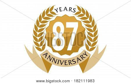 This vector describe about 87 Years Ribbon Anniversary poster