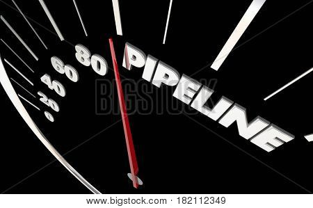 Pipeline Speedometer Measure Sales Prospects Word 3d Illustration