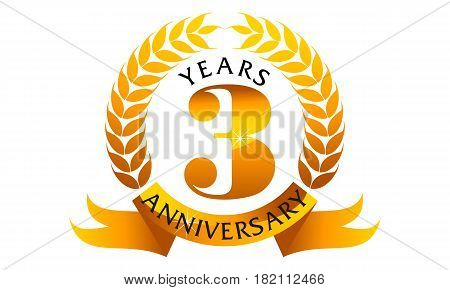 3 Years Ribbon Anniversary Congratulation Golden Elegant