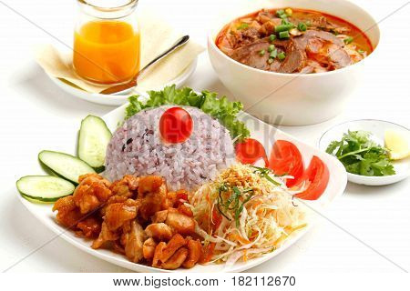 Vietnamese Lunch Set Of Rice With Fried Meat And Salad