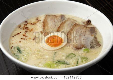 Ramen noodle with egg and pork ib black