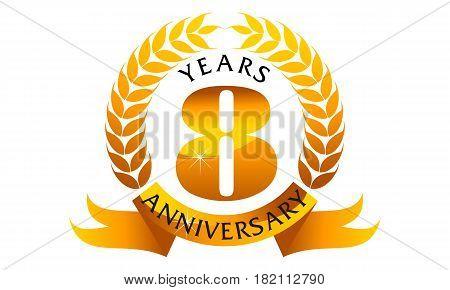 8 Years Ribbon Anniversary Congratulation Golden Elegant