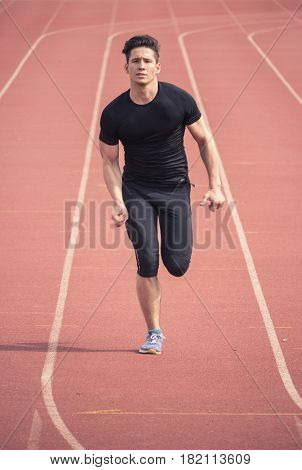 One Young Man Running, Red Running Tracks