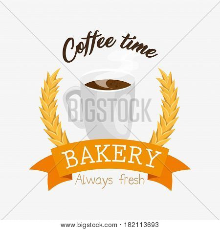 coffe time bakery label vector illustration design