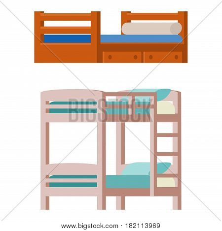 Vector bunk bed icon interior home rest collection sleep furniture comfortable night illustration. House relaxation information hostel bedtime modern service sign.