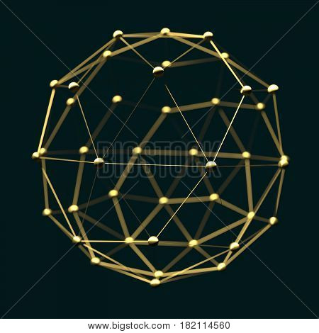 Molecule And Communication Background. Brochure or web banner design. Lines and spheres. Medical, technology, chemistry, science relative. Shallow depth of field. 3D rendering. Metallic material
