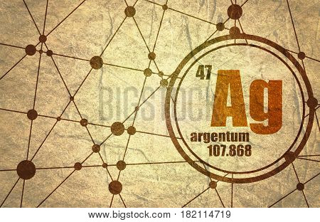 silver chemical element. Sign with atomic number and atomic weight. Chemical element of periodic table. Molecule And Communication Background. Connected lines with dots. Grunge texture