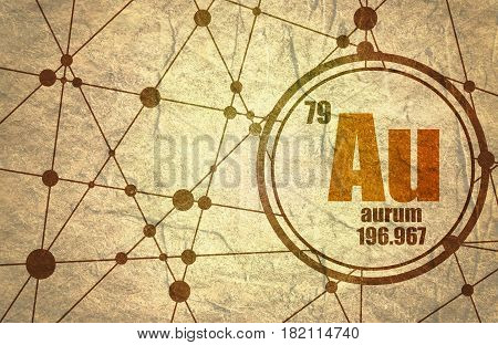 gold chemical element. Sign with atomic number and atomic weight. Chemical element of periodic table. Molecule And Communication Background. Connected lines with dots. Grunge texture
