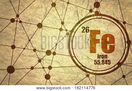 iron chemical element. Sign with atomic number and atomic weight. Chemical element of periodic table. Molecule And Communication Background. Connected lines with dots. Grunge texture