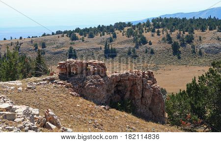 Rock Formation On Sykes Ridge Overlooking The Big Horn National Recreation Area On The Wyoming Monta