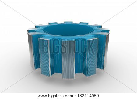 Gear wheel isometric model. Background industrial design. Conceptual wire-frame illustration. 3D rendering.