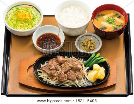 Bento Of Beafsteak With Rice And Seaweed Soup On Table