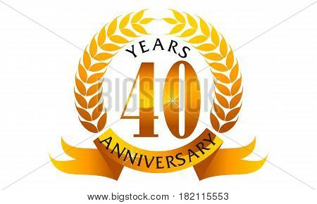 This vector describe about 40 Years Ribbon Anniversary