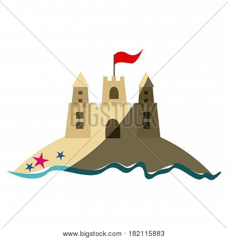 color silhouette with beach and sandcastle with flag and middle shadow vector illustration