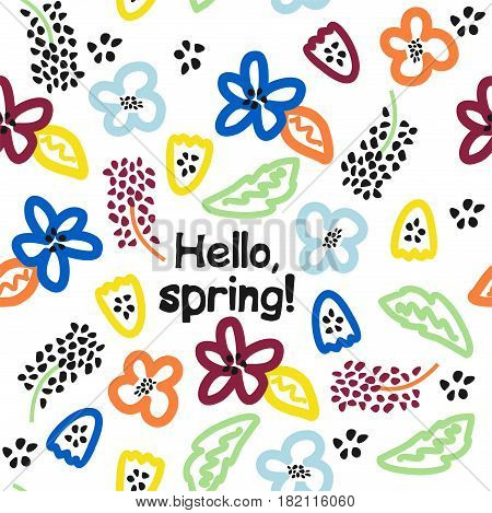 Seamless vector pattern with beautiful colors. Hello, spring!