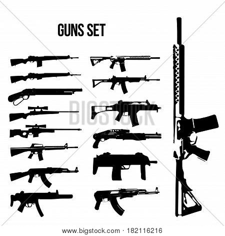 Weapon icon set, rifles and machine guns, vector illustration black white.