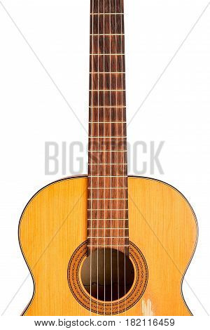 The old classical guitar isolated on white background