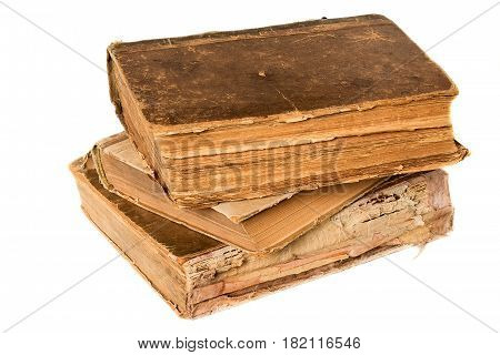 Old books piled together over white background. Education background