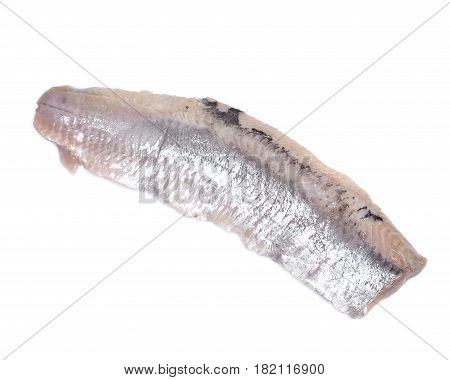 Matjes herring fillet isolated on white background
